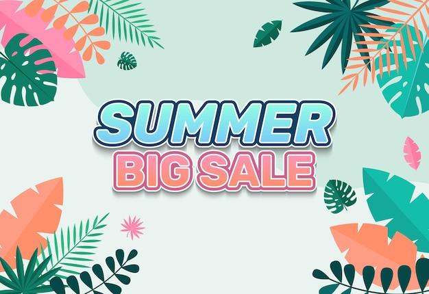 열 대 잎 여름 큰 판매 배경