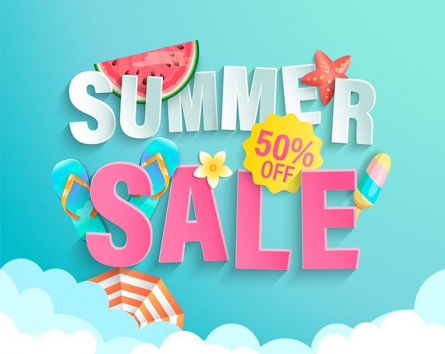Summer big sale banner, up to fifty percent limited time discount, promotion, hot season promo