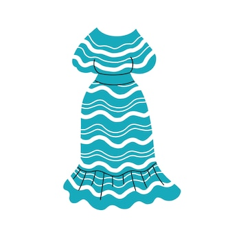 Summer blue dress with a striped pattern