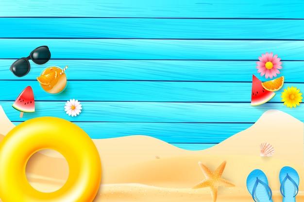 夏の青い木製の背景