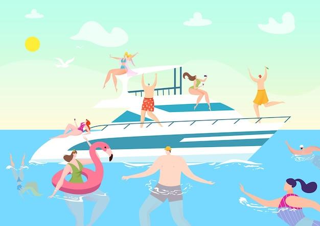 Летнее путешествие на лодке в отпуске, люди на океанской яхте, круизная иллюстрация