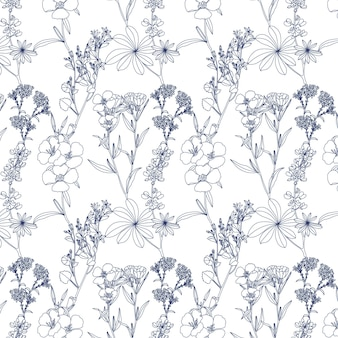 Summer botanical flowers seamless pattern in linear style