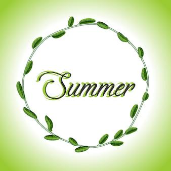 Summer botanical frame - leafy, branches, round botanical summer frame