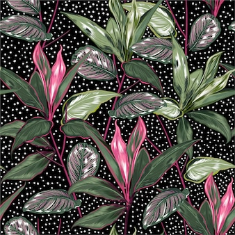 Summer botanical plants and wild forest seamless pattern