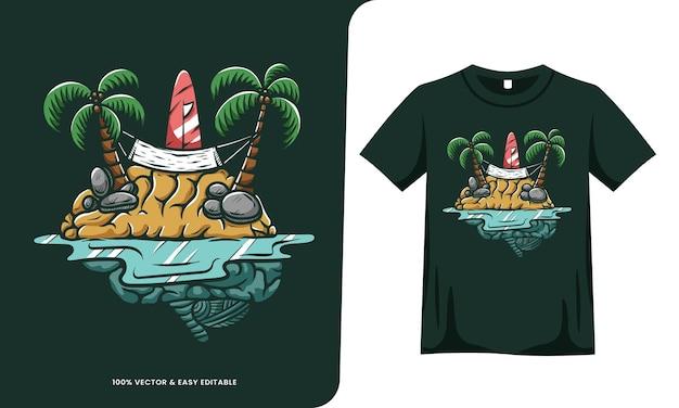 Summer brain island illustration tshirt design