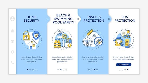 여름 방학 안전 온보딩 벡터 템플릿입니다. 아이콘이 있는 반응형 모바일 웹사이트입니다. 웹 페이지 연습 4단계 화면. 선형 삽화가 있는 해변, 수영장 예방 색상 개념
