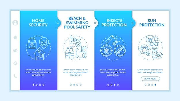 여름 방학 안전 온보딩 벡터 템플릿입니다. 아이콘이 있는 반응형 모바일 웹사이트입니다. 웹 페이지 연습 4단계 화면. 곤충 보호, 선형 삽화가 있는 가정 보안 색상 개념
