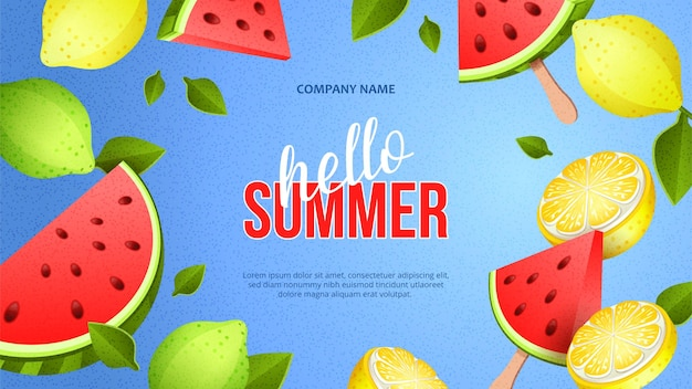 잘 익은 과일과 수박의 빨간 조각으로 여름 밝은 배너