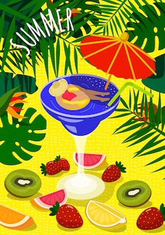 Summer bright colorful sunny poster. beautiful woman sunbathes on inflatable circle in cocktail glass and umbrella. on sand background tropical foliage and fresh fruits. summertime vector illustration