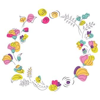 夏の鮮やかな色の花の花輪。明るいネオン色の花。白色の背景