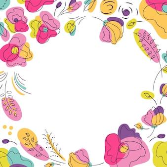 夏らしい鮮やかな花柄。鮮やかなネオンカラーの花壇。