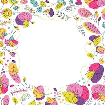 夏の明るい花柄のスクエアフレーム。鮮やかなネオンカラーの花。
