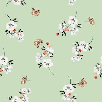 패션, 직물, 벽지 및 모든 인쇄를위한 벡터 디자인에 나비 부드럽고 부드러운 원활한 패턴 여름 밝은 초원 꽃