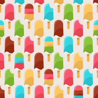 Летний яркий бесшовный фон с красочным мороженым