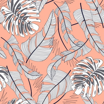 Summer bright seamless pattern with colorful tropical leaves and plants on beige background