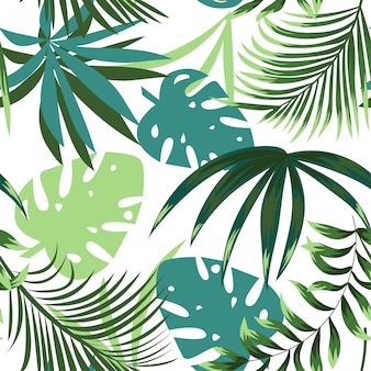Summer bright seamless pattern with colorful tropical leaves and plants on a delicate background