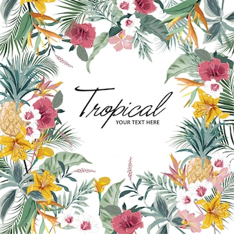 Summer bright tropical background with jungle plants