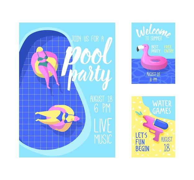 Летняя брошюра с надувным розовым фламинго
