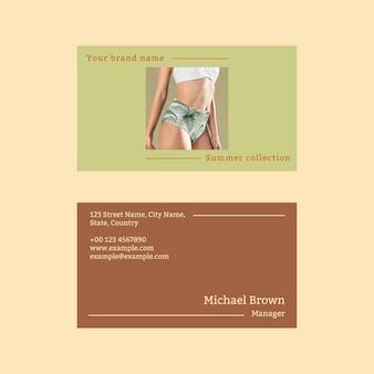 Summer business card template vector