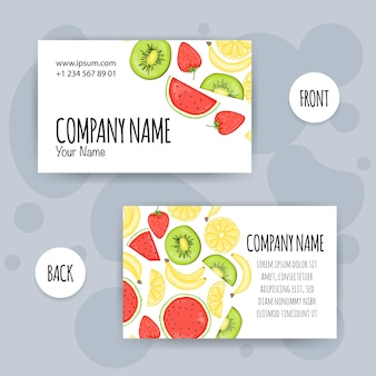 Летняя визитная карточка с фруктами. мультяшный стиль. векторная иллюстрация.