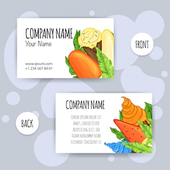 Summer business card with ice cream. cartoon style. vector illustration.