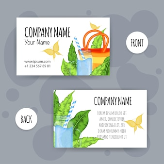 Summer business card with summer items. cartoon style. vector illustration.