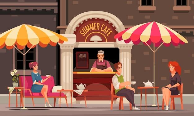Прилавок кейтеринга на улице кафе летнего кафе с клиентами доски меню пьют чай
