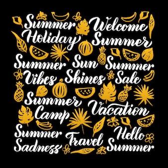 夏の書道のデザイン。黒の上の季節のレタリングのベクトルイラスト。