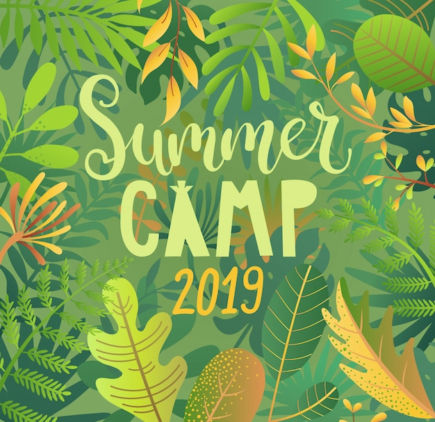 Summer camp 2019 lettering on jungle background.