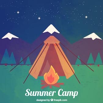 밤에 여름 캠프 배경