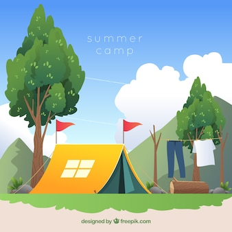Summer camp background in flat design