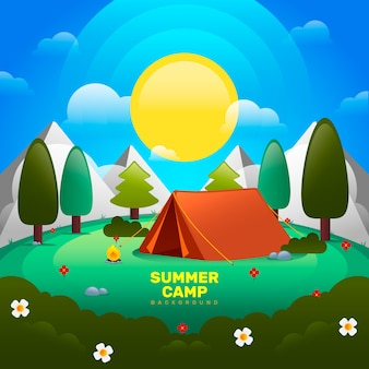 Summer camp background in gradient style