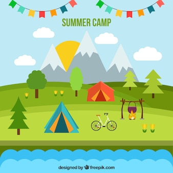 Summer camp background in flat style