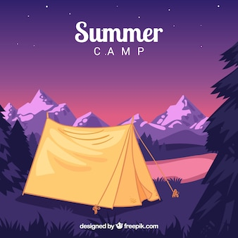 Summer camp background at night
