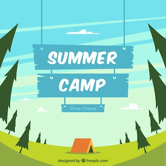 Summer camp background with blue wooden sign