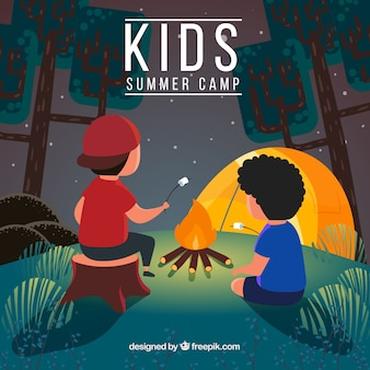 Summer camp background with boys heating marshmallows