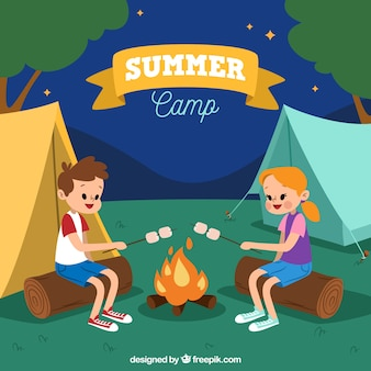 Summer camp background with couple at bonfire