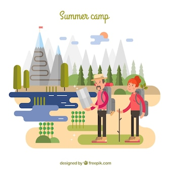 Summer camp background with couple traveling