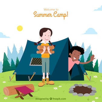 Summer camp background with couple