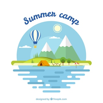 Summer camp background with flat landscape