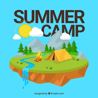 Summer camp background with isometric style