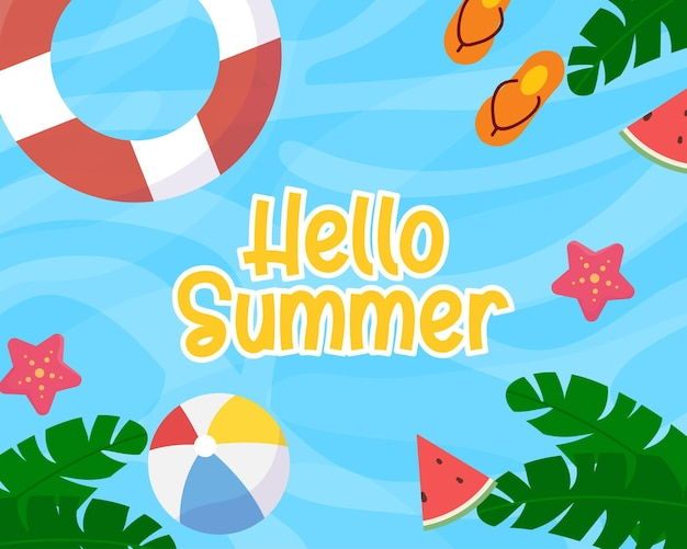 Summer camp background with kids at beach