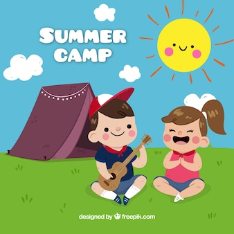 Summer camp background with kids