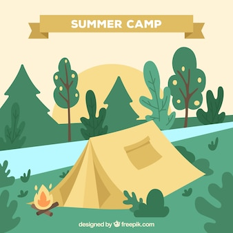 Summer camp background with landscape