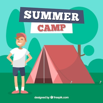 Summer camp background with man in front of tent