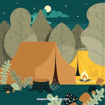 밤 풍경 여름 캠프 배경