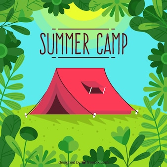 Summer camp background with red tent