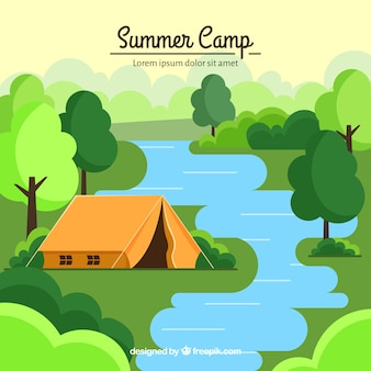 Summer camp background with tent in nature