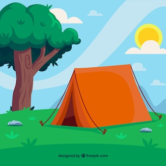 Summer camp background with tent and tree