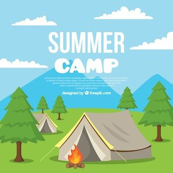 Summer camp background with tents and campfire